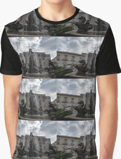 La Fontana di Diana - Fountain of Diana Silver Jets and Sky Drama Graphic T-Shirt