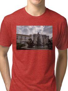 La Fontana di Diana - Fountain of Diana Silver Jets and Sky Drama Tri-blend T-Shirt