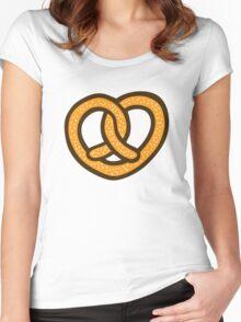 I Heart Pretzels Pattern Women's Fitted Scoop T-Shirt