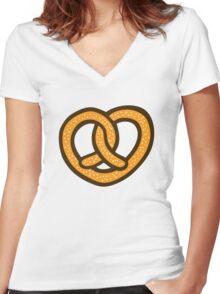 I Heart Pretzels Pattern Women's Fitted V-Neck T-Shirt