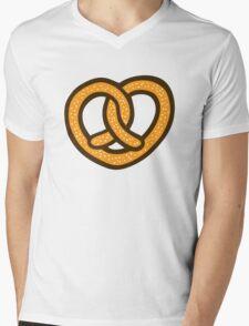 I Heart Pretzels Pattern Mens V-Neck T-Shirt