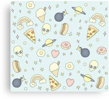 Pizza, Alien, Retro Sticker Pattern Canvas Print