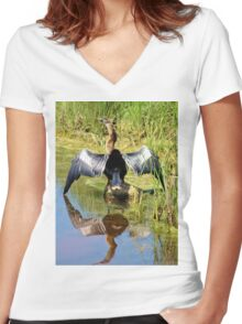 Drying Her Wings Women's Fitted V-Neck T-Shirt