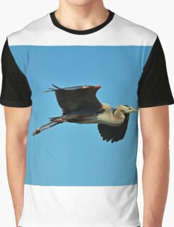 Great Blue Heron In Flight Graphic T-Shirt