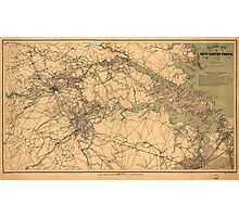 Military Map of South Eastern Virginia by A. Lindenkohl (1864) Photographic Print