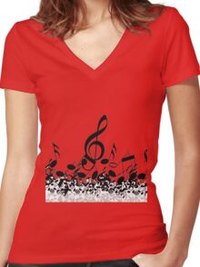 Music Note's BW 2 Women's Fitted V-Neck T-Shirt