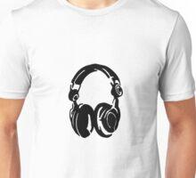 Headphones on Unisex T-Shirt