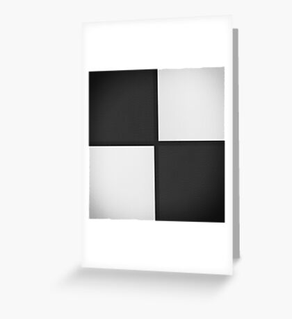 Black and White Leather Patchwork Greeting Card