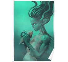 Mermaid with Shell Poster