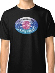 Defender of the U-knitverse knitting space superhero Classic T-Shirt