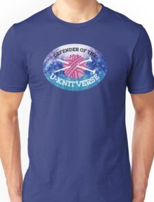 Defender of the U-knitverse knitting space superhero Unisex T-Shirt
