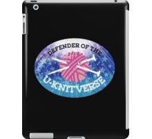 Defender of the U-knitverse knitting space superhero iPad Case/Skin