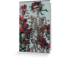 Skeleton & Roses - transparent Background Greeting Card