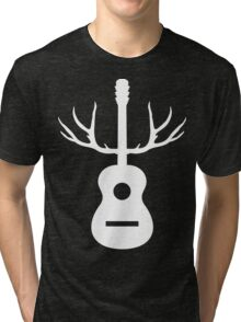 White Antlers Acoustic Guitar Tri-blend T-Shirt