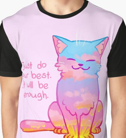 """""""Your Best Is Enough"""" Sunset Cat Graphic T-Shirt"""