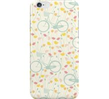 Vintage pastel pink green spring floral bicycle pattern iPhone Case/Skin