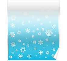 Ombre Blue White Snow Poster