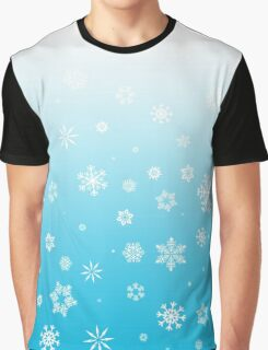 Ombre Blue White Snow Graphic T-Shirt