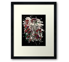 Skeleton & Roses - bleached look Framed Print