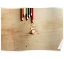 Colored pencils on a wooden board Poster