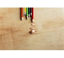 Colored pencils on a wooden board Photographic Print