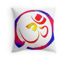 Aum - Om with Enso Zen-circle  Throw Pillow