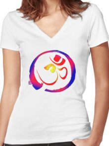 Aum - Om with Enso Zen-circle  Women's Fitted V-Neck T-Shirt