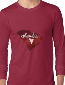 Columbia, South Carolina - red watercolor Long Sleeve T-Shirt