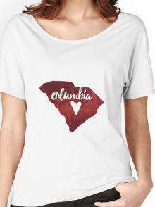 Columbia, South Carolina - red watercolor Women's Relaxed Fit T-Shirt
