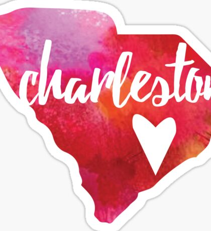 Charleston, South Carolina - pink and red  Sticker