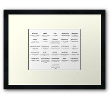 A-Z of Unusual Words Framed Print