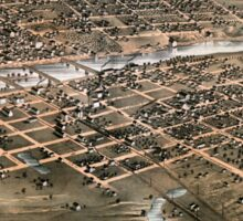 Bird's eye view of the city of Des Moines - Iowa - 1868 Sticker