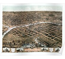 Bird's eye view of the city of Des Moines - Iowa - 1868 Poster