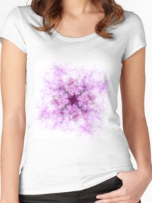 Pink and Purple Abstract Flower Art Women's Fitted Scoop T-Shirt