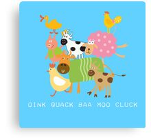 Silly Farm Animals Cow Goat Sheep Pig Canvas Print