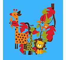 Colorful Safari Animals Giraffe Lion Tiger Photographic Print