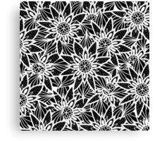Modern Elegant Black White Tangle Flower Drawing Canvas Print