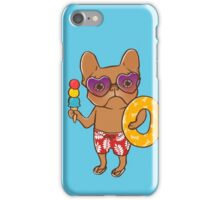 Frenchie at the beach in Summer iPhone Case/Skin
