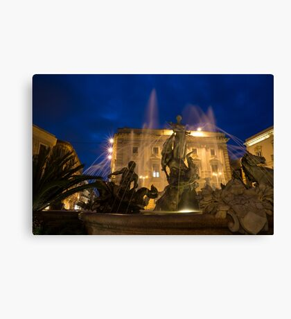 Syracuse, Sicily Blue Hour - Fountain of Diana on Piazza Archimede Canvas Print