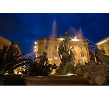 Syracuse, Sicily Blue Hour - Fountain of Diana on Piazza Archimede Photographic Print