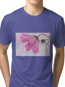 Pink Cosmo Flower And Bud Tri-blend T-Shirt