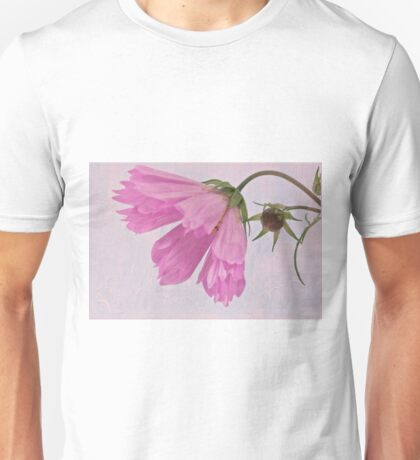 Pink Cosmo Flower And Bud Unisex T-Shirt