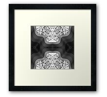 Modern Black and White Speckles and Swirls Framed Print