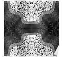 Modern Black and White Speckles and Swirls Poster