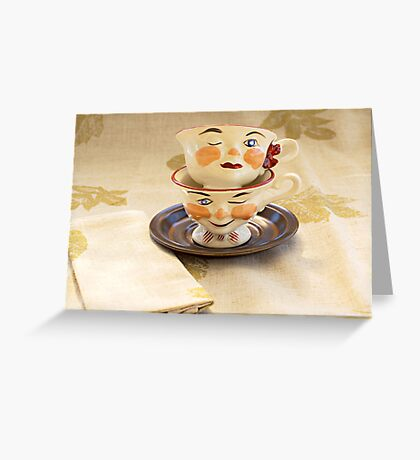 Ladies and Gents Tea Cups Greeting Card