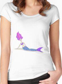 Cute cartoon mermaid in vivid colors  Women's Fitted Scoop T-Shirt