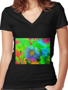 Daisy Glow Women's Fitted V-Neck T-Shirt