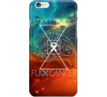 Fuck Cancer // Galaxy // White Font // Brain Cancer iPhone Case/Skin