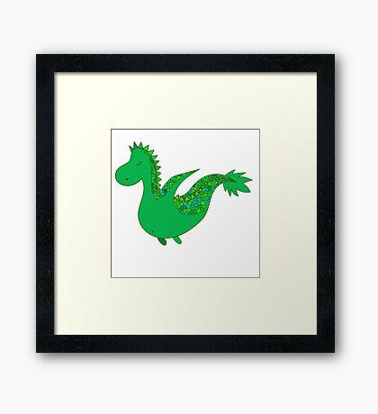 Cute cartoon dragon flying. Framed Print