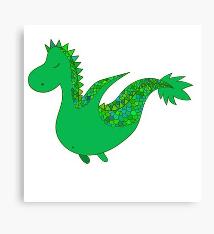 Cute cartoon dragon flying. Canvas Print